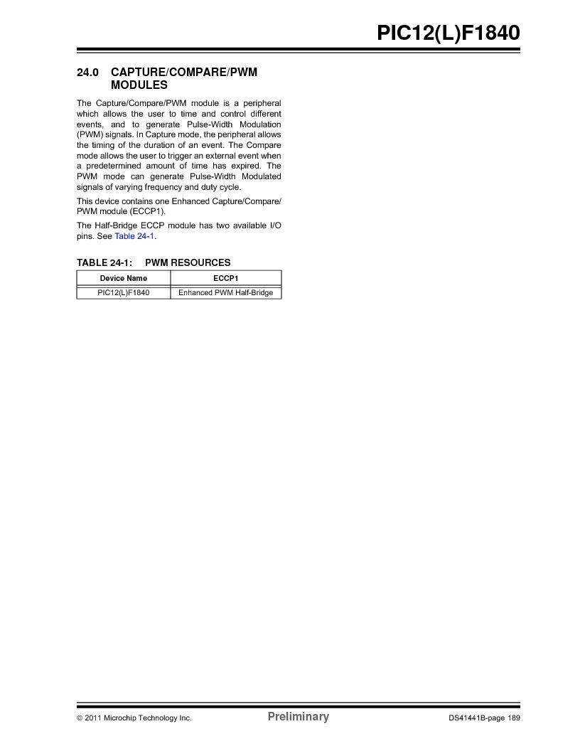 PIC12F1840-I/SN ,Microchip Technology厂商,MCU 7KB FLASH 256B RAM 8-SOIC, PIC12F1840-I/SN datasheet预览  第189页