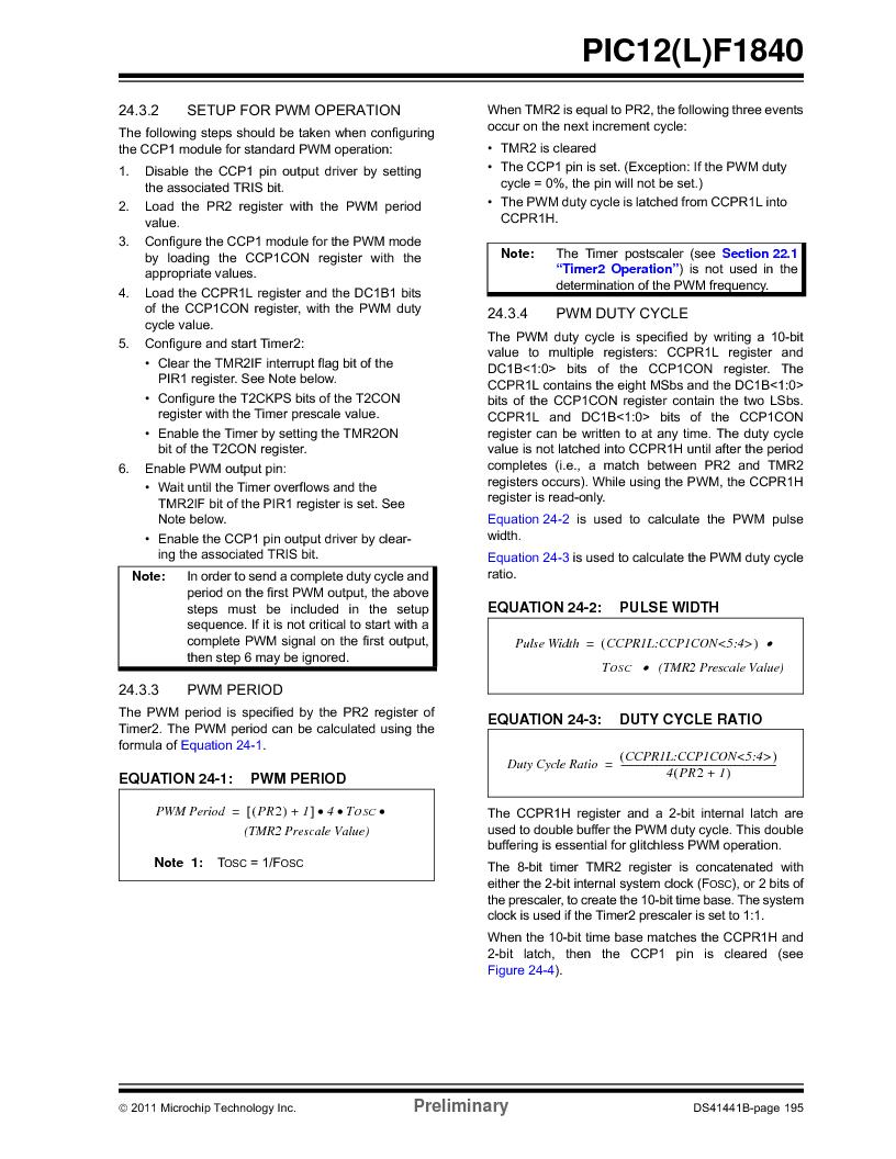 PIC12F1840-I/SN ,Microchip Technology厂商,MCU 7KB FLASH 256B RAM 8-SOIC, PIC12F1840-I/SN datasheet预览  第195页