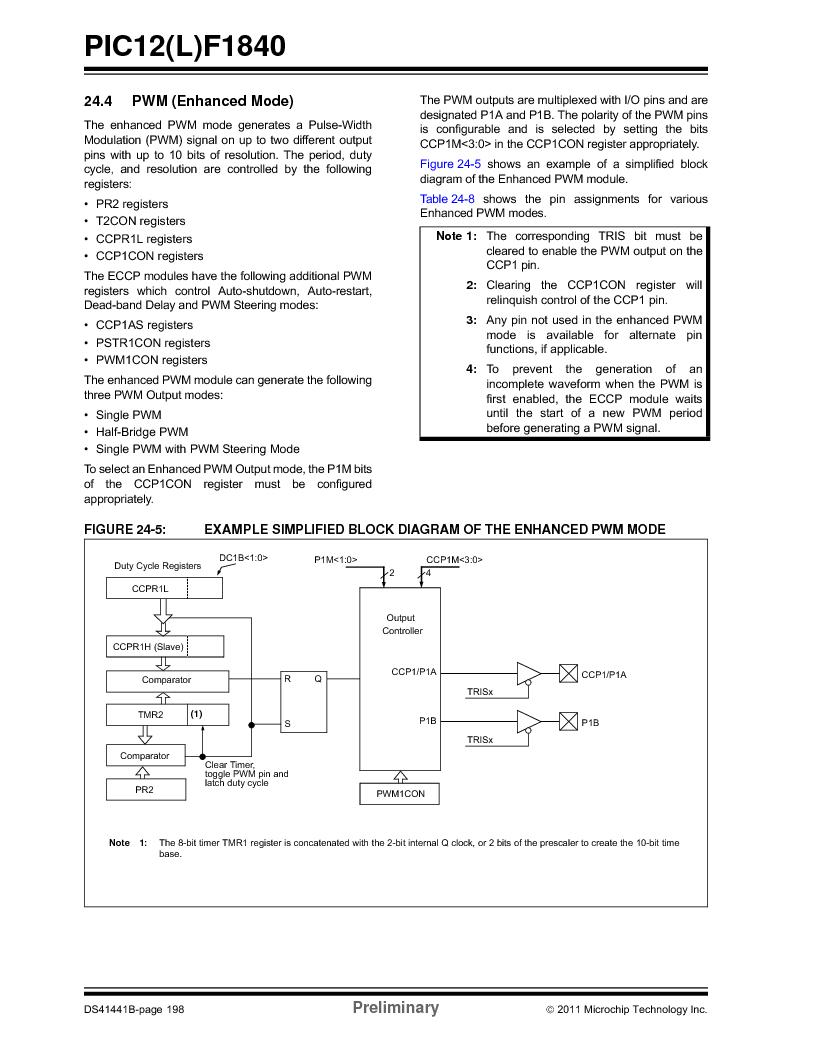 PIC12F1840-I/SN ,Microchip Technology厂商,MCU 7KB FLASH 256B RAM 8-SOIC, PIC12F1840-I/SN datasheet预览  第198页