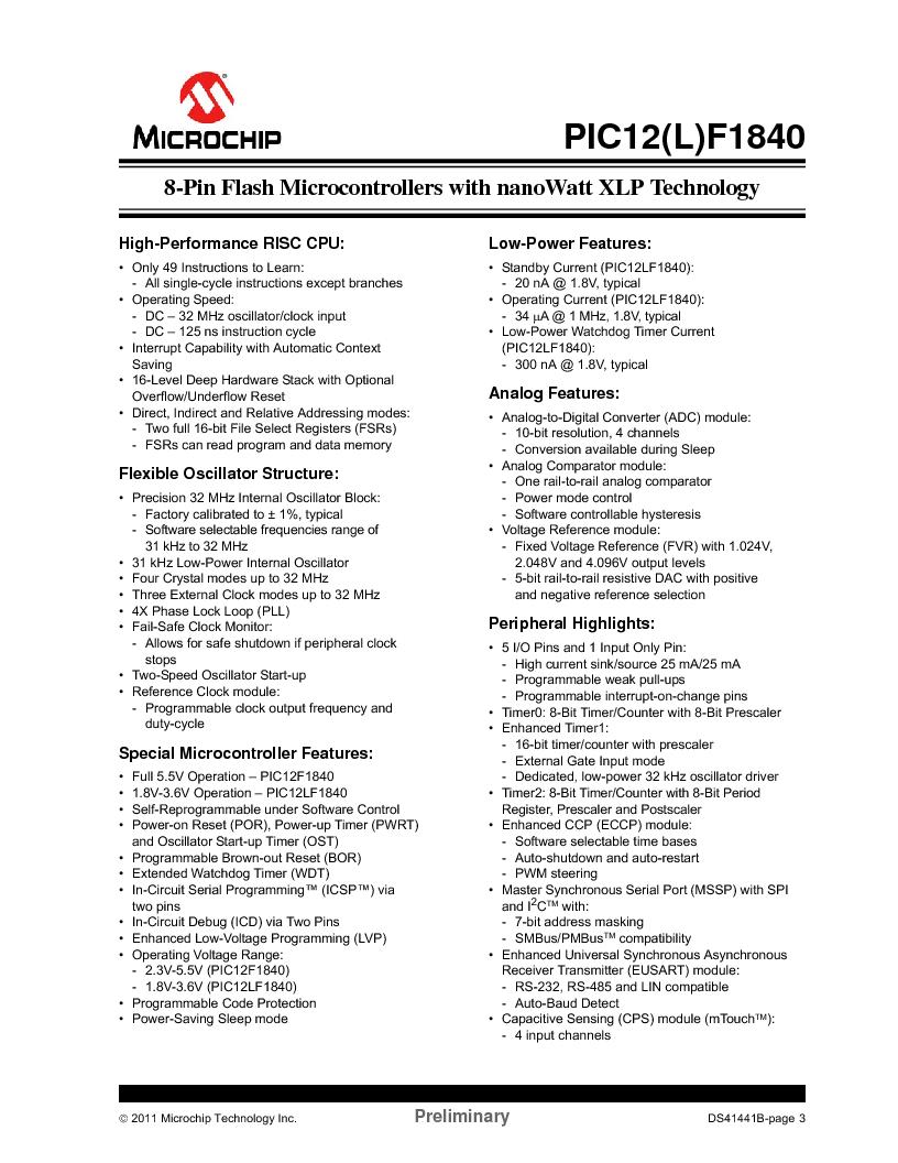 PIC12F1840-I/SN ,Microchip Technology厂商,MCU 7KB FLASH 256B RAM 8-SOIC, PIC12F1840-I/SN datasheet预览  第3页