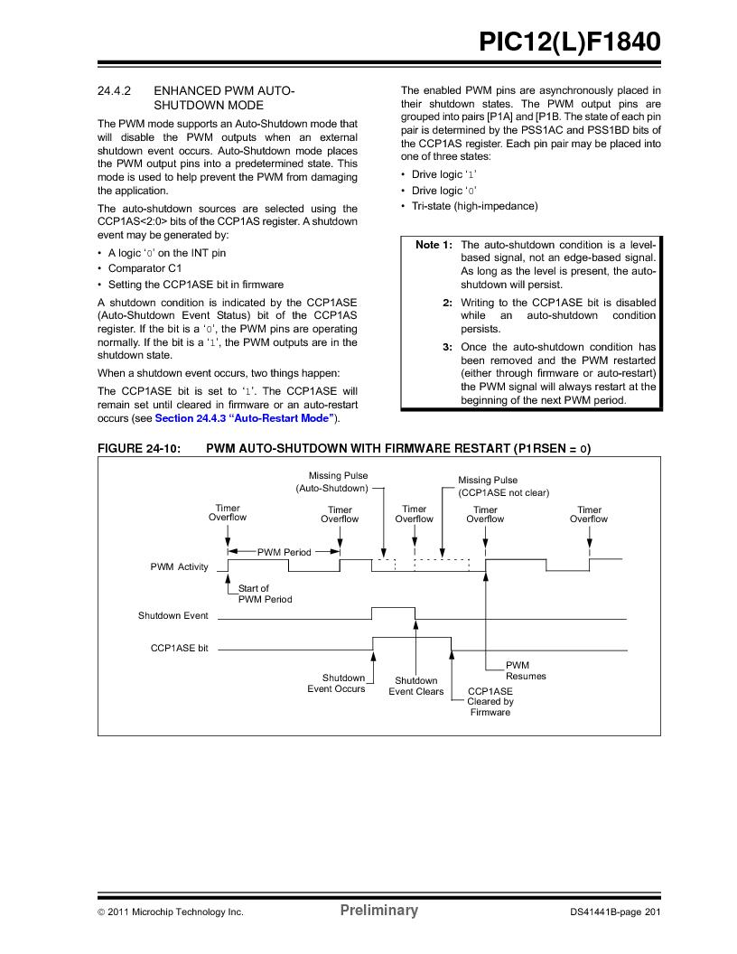 PIC12F1840-I/SN ,Microchip Technology厂商,MCU 7KB FLASH 256B RAM 8-SOIC, PIC12F1840-I/SN datasheet预览  第201页