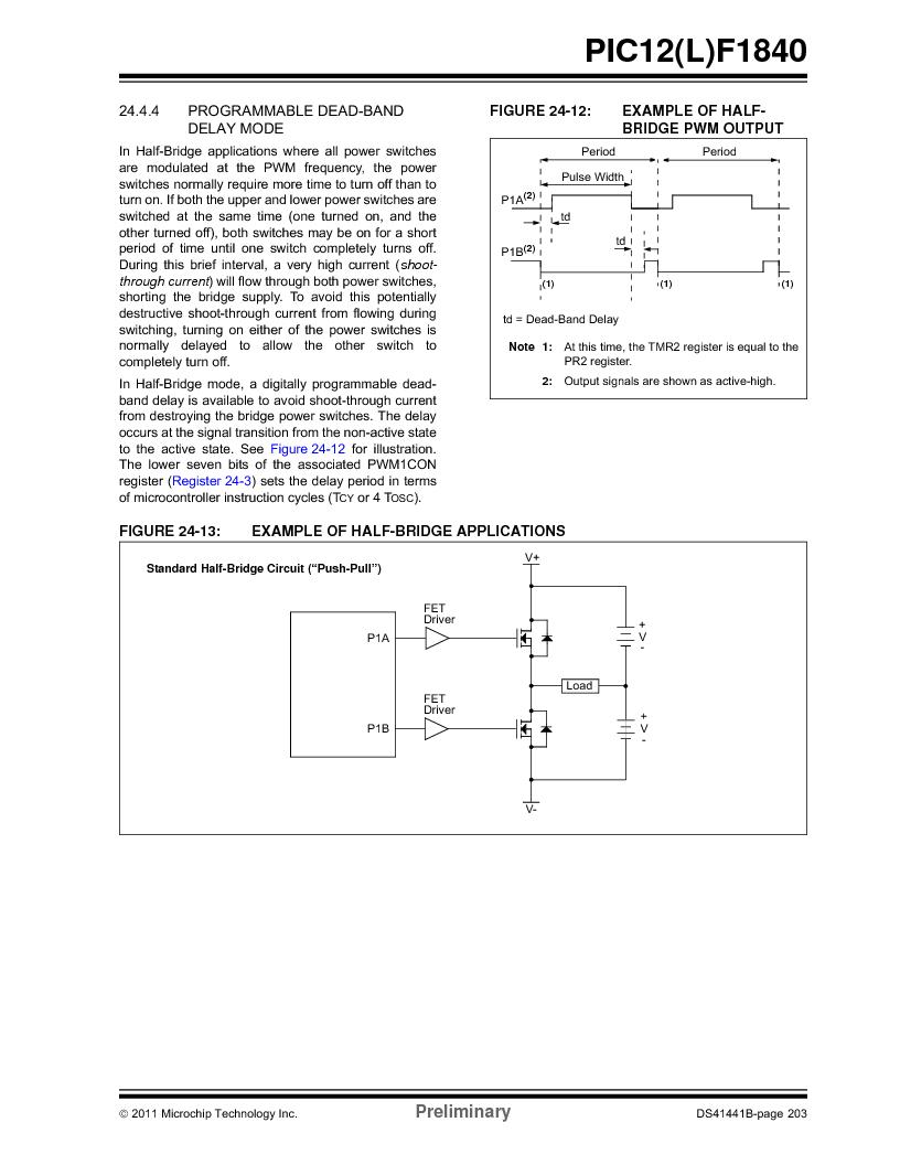 PIC12F1840-I/SN ,Microchip Technology厂商,MCU 7KB FLASH 256B RAM 8-SOIC, PIC12F1840-I/SN datasheet预览  第203页