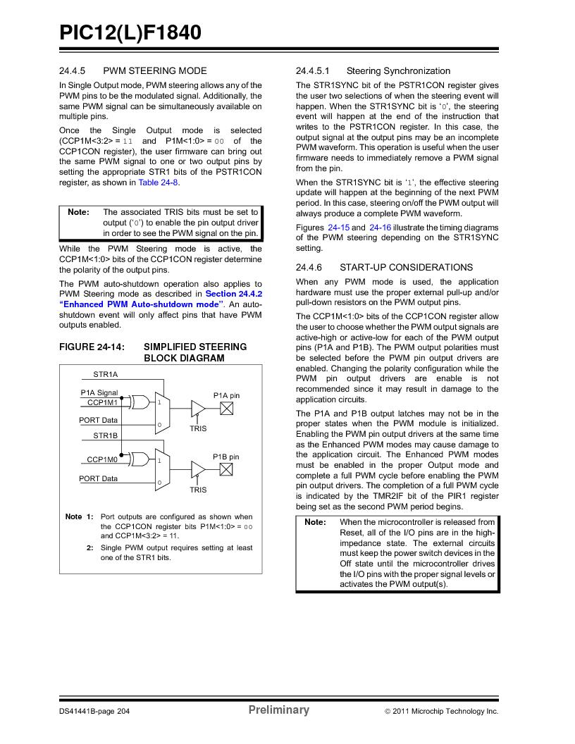 PIC12F1840-I/SN ,Microchip Technology厂商,MCU 7KB FLASH 256B RAM 8-SOIC, PIC12F1840-I/SN datasheet预览  第204页