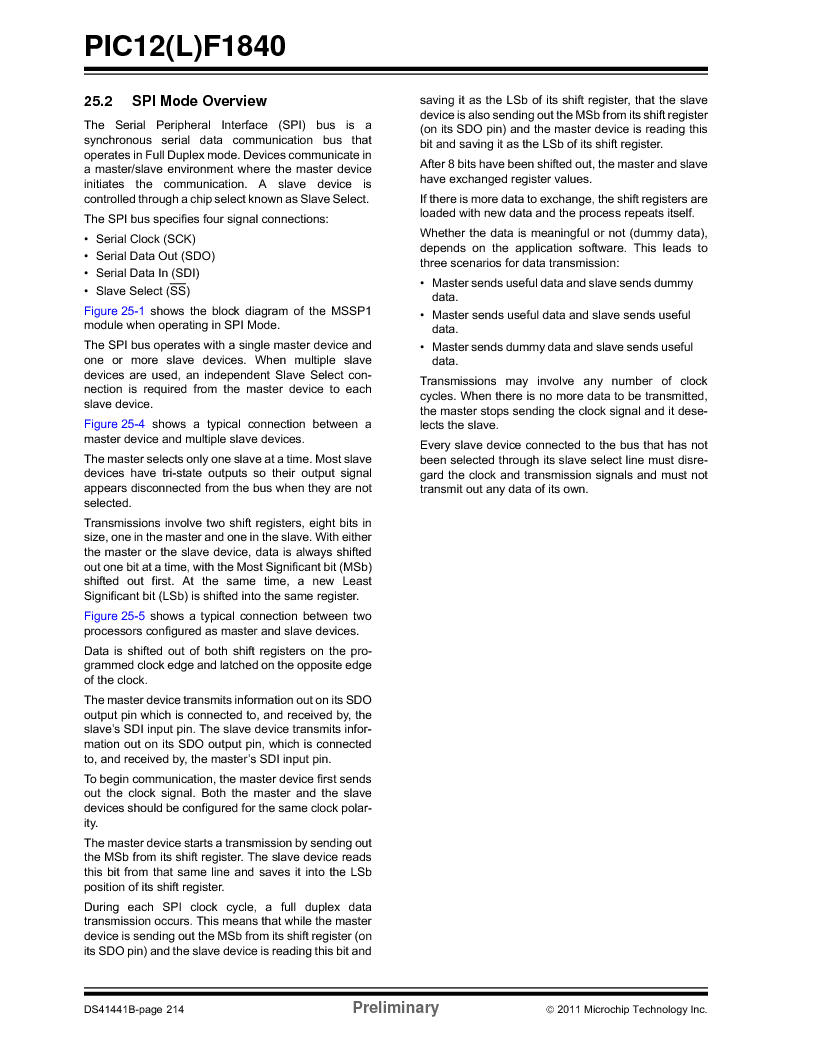 PIC12F1840-I/SN ,Microchip Technology厂商,MCU 7KB FLASH 256B RAM 8-SOIC, PIC12F1840-I/SN datasheet预览  第214页