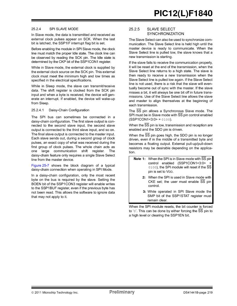 PIC12F1840-I/SN ,Microchip Technology厂商,MCU 7KB FLASH 256B RAM 8-SOIC, PIC12F1840-I/SN datasheet预览  第219页