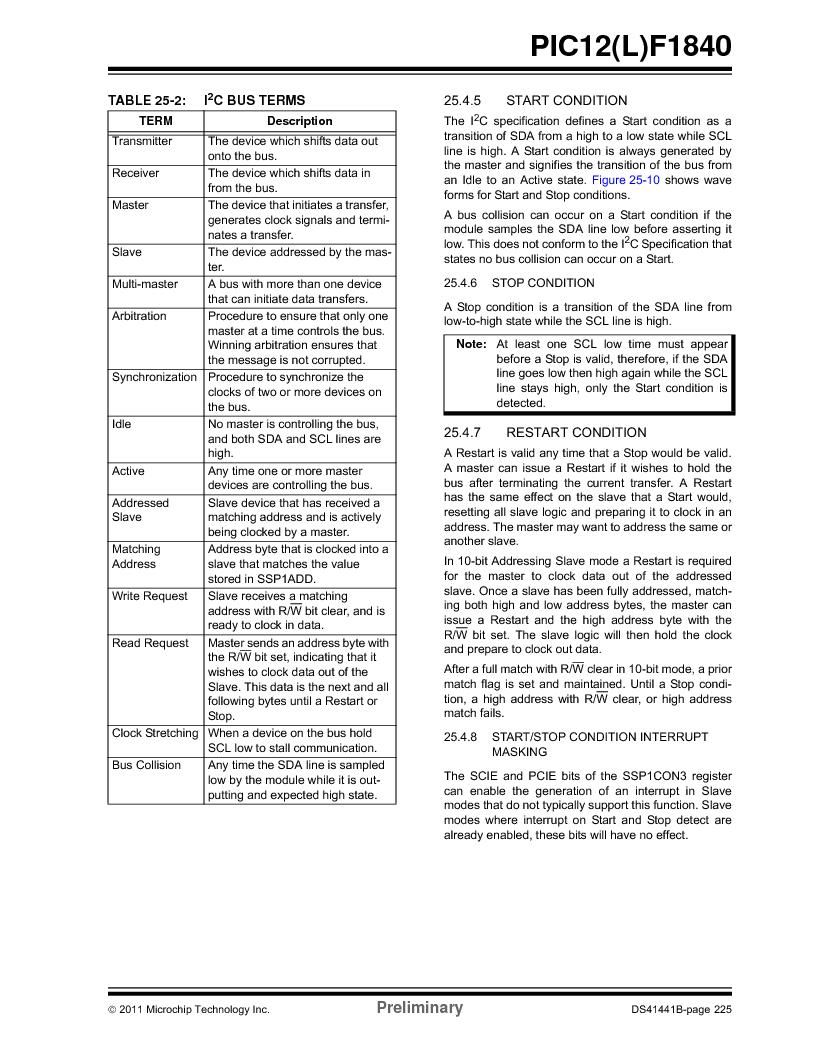 PIC12F1840-I/SN ,Microchip Technology厂商,MCU 7KB FLASH 256B RAM 8-SOIC, PIC12F1840-I/SN datasheet预览  第225页