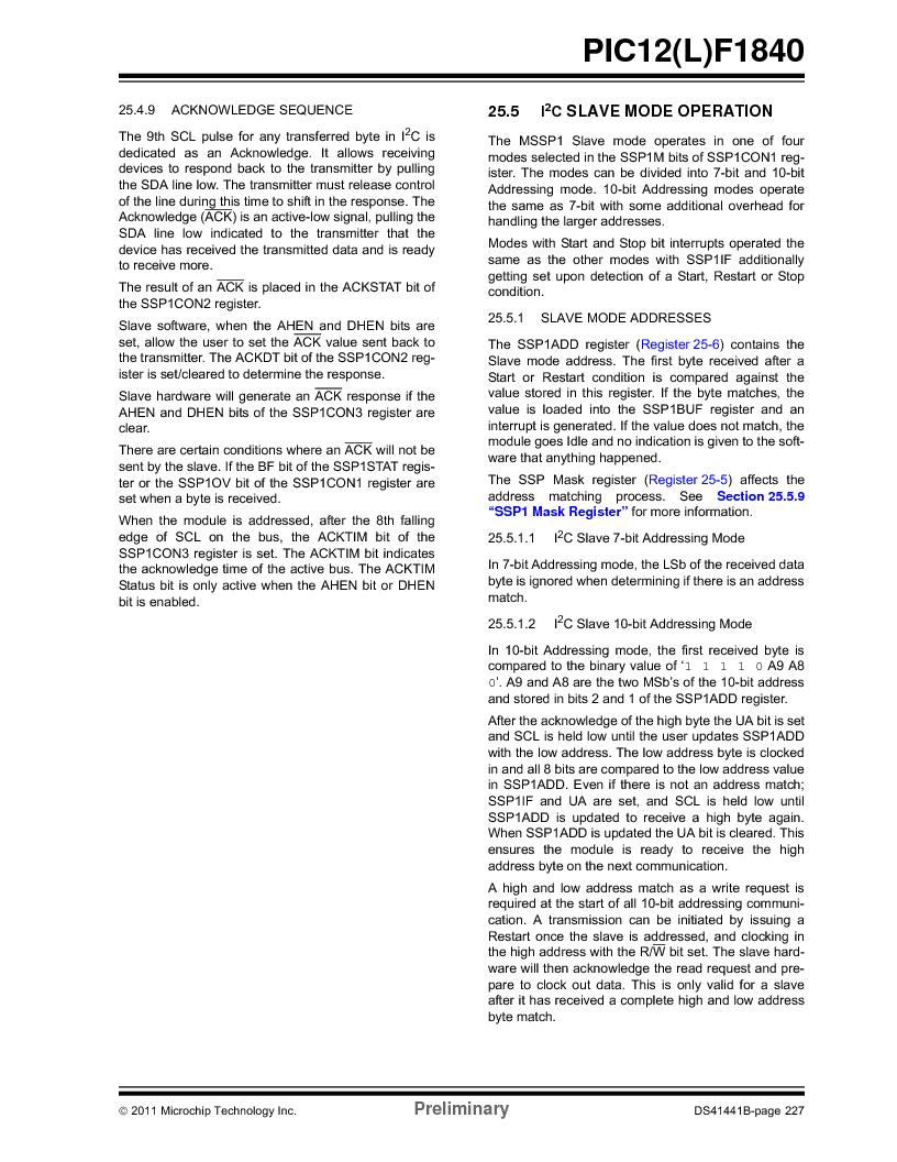PIC12F1840-I/SN ,Microchip Technology厂商,MCU 7KB FLASH 256B RAM 8-SOIC, PIC12F1840-I/SN datasheet预览  第227页