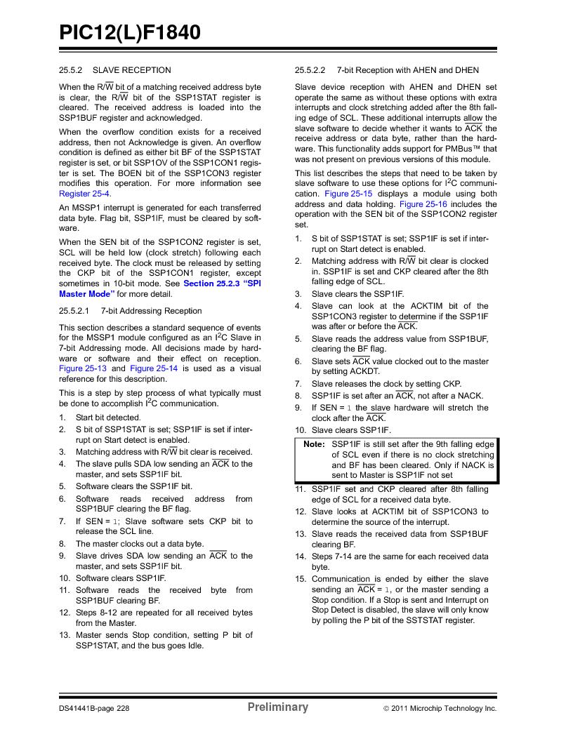 PIC12F1840-I/SN ,Microchip Technology厂商,MCU 7KB FLASH 256B RAM 8-SOIC, PIC12F1840-I/SN datasheet预览  第228页