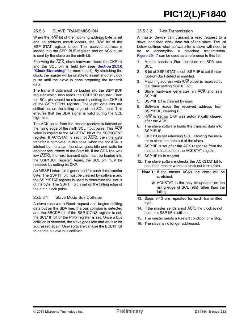 PIC12F1840-I/SN ,Microchip Technology厂商,MCU 7KB FLASH 256B RAM 8-SOIC, PIC12F1840-I/SN datasheet预览  第233页