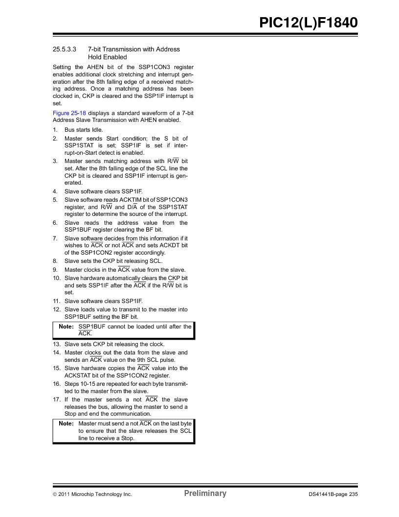 PIC12F1840-I/SN ,Microchip Technology厂商,MCU 7KB FLASH 256B RAM 8-SOIC, PIC12F1840-I/SN datasheet预览  第235页