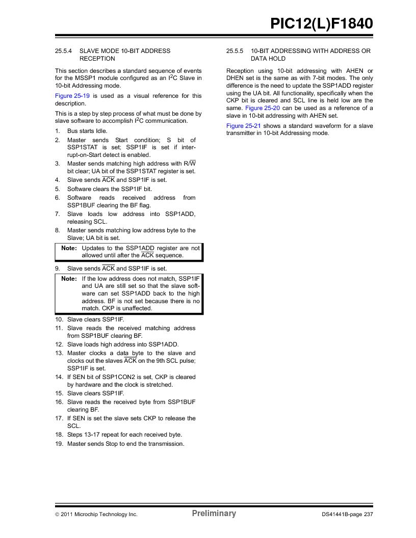 PIC12F1840-I/SN ,Microchip Technology厂商,MCU 7KB FLASH 256B RAM 8-SOIC, PIC12F1840-I/SN datasheet预览  第237页