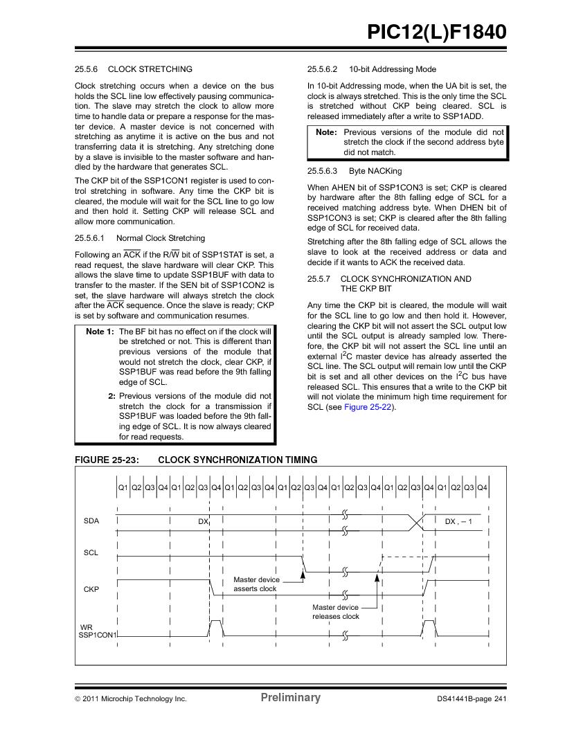 PIC12F1840-I/SN ,Microchip Technology厂商,MCU 7KB FLASH 256B RAM 8-SOIC, PIC12F1840-I/SN datasheet预览  第241页