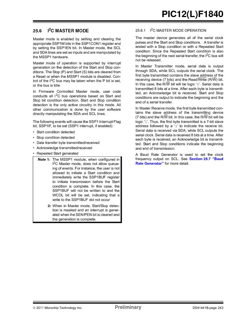 PIC12F1840-I/SN ,Microchip Technology厂商,MCU 7KB FLASH 256B RAM 8-SOIC, PIC12F1840-I/SN datasheet预览  第243页