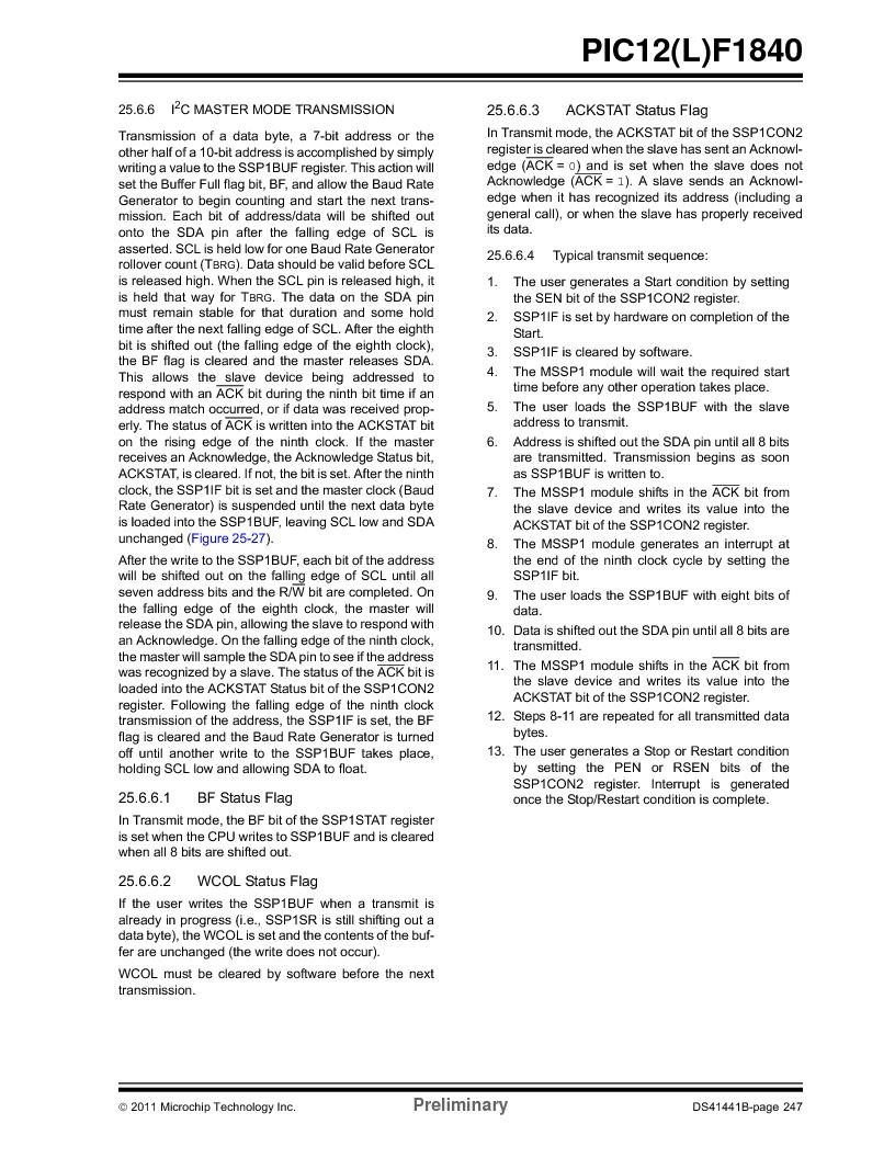 PIC12F1840-I/SN ,Microchip Technology厂商,MCU 7KB FLASH 256B RAM 8-SOIC, PIC12F1840-I/SN datasheet预览  第247页