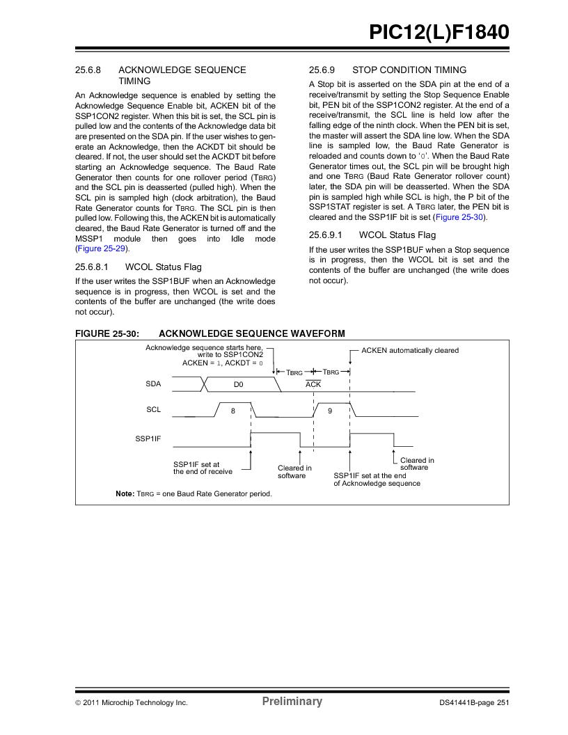 PIC12F1840-I/SN ,Microchip Technology厂商,MCU 7KB FLASH 256B RAM 8-SOIC, PIC12F1840-I/SN datasheet预览  第251页