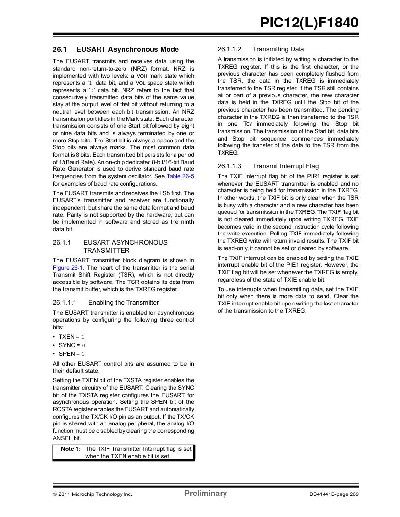 PIC12F1840-I/SN ,Microchip Technology厂商,MCU 7KB FLASH 256B RAM 8-SOIC, PIC12F1840-I/SN datasheet预览  第269页