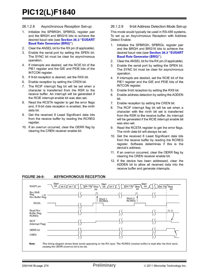 PIC12F1840-I/SN ,Microchip Technology厂商,MCU 7KB FLASH 256B RAM 8-SOIC, PIC12F1840-I/SN datasheet预览  第274页