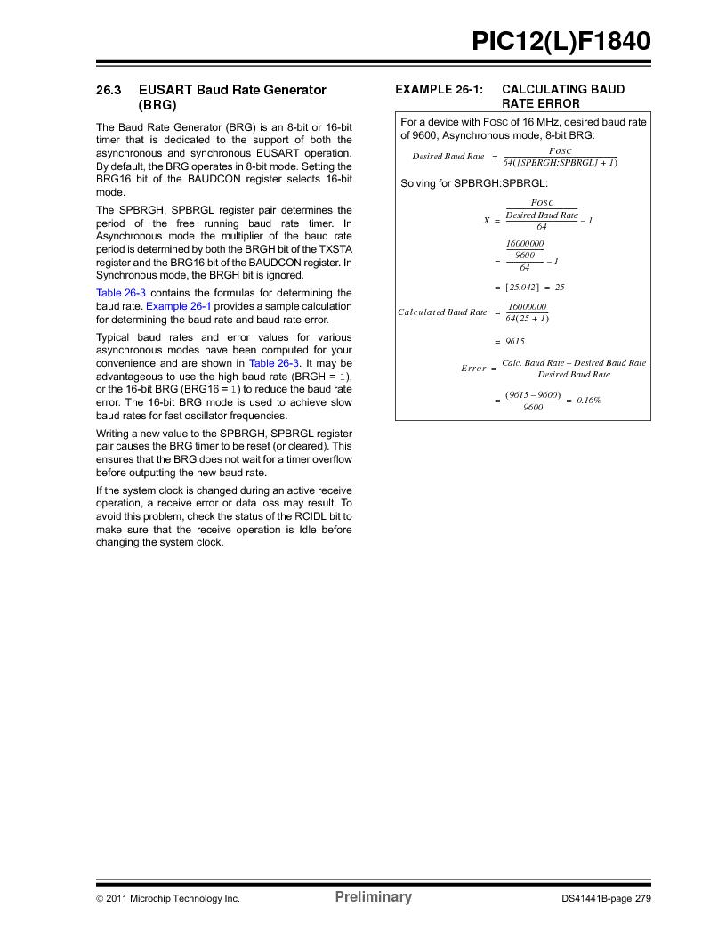 PIC12F1840-I/SN ,Microchip Technology厂商,MCU 7KB FLASH 256B RAM 8-SOIC, PIC12F1840-I/SN datasheet预览  第279页