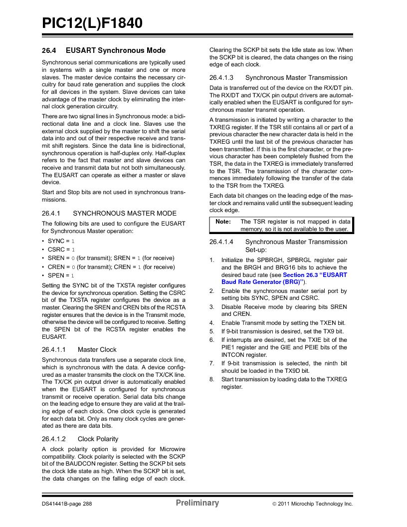 PIC12F1840-I/SN ,Microchip Technology厂商,MCU 7KB FLASH 256B RAM 8-SOIC, PIC12F1840-I/SN datasheet预览  第288页