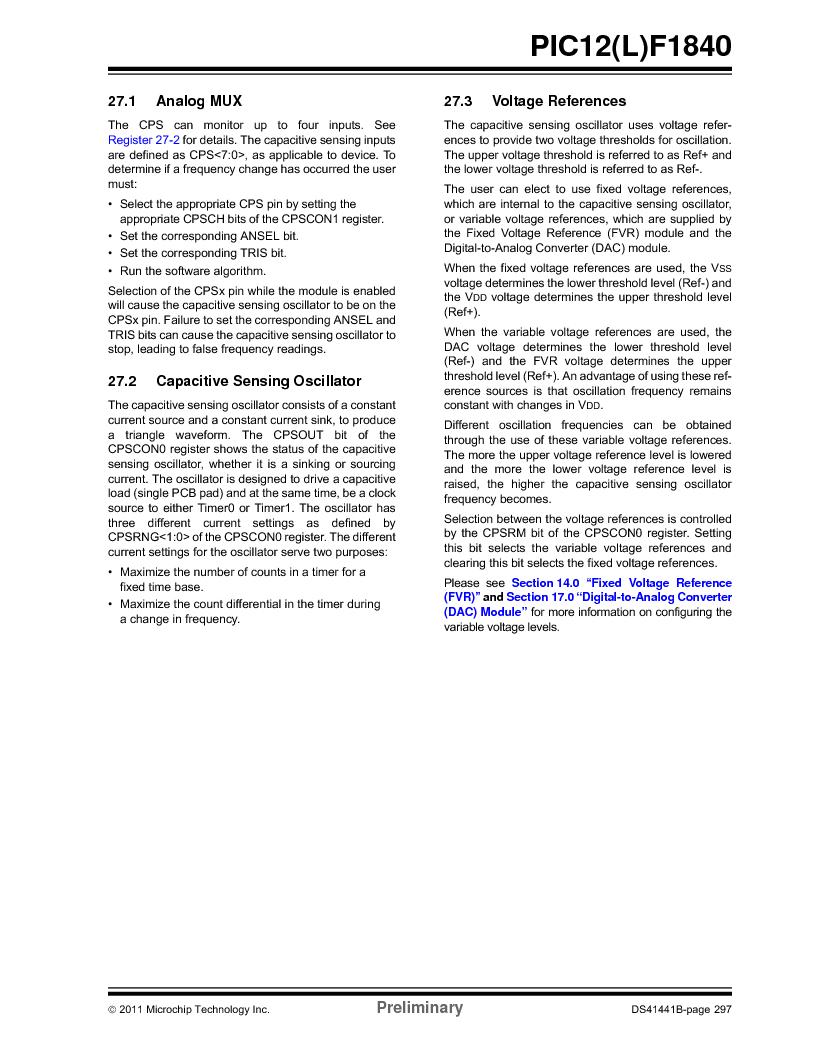 PIC12F1840-I/SN ,Microchip Technology厂商,MCU 7KB FLASH 256B RAM 8-SOIC, PIC12F1840-I/SN datasheet预览  第297页