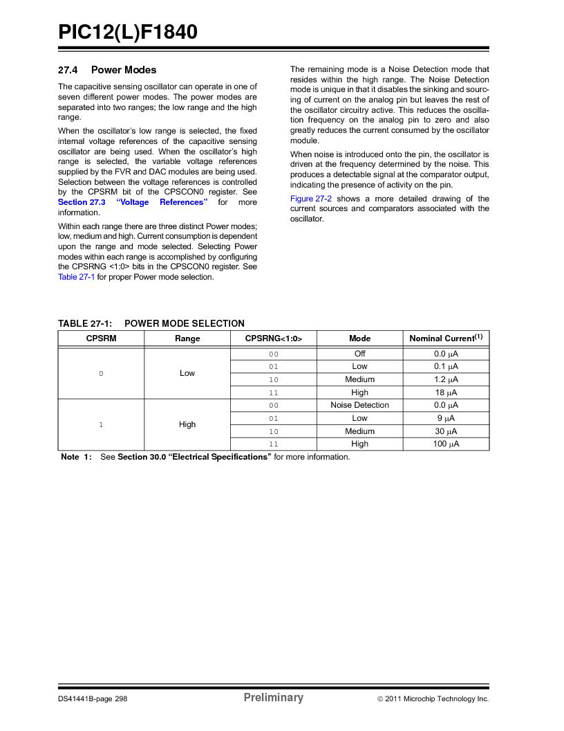 PIC12F1840-I/SN ,Microchip Technology厂商,MCU 7KB FLASH 256B RAM 8-SOIC, PIC12F1840-I/SN datasheet预览  第298页
