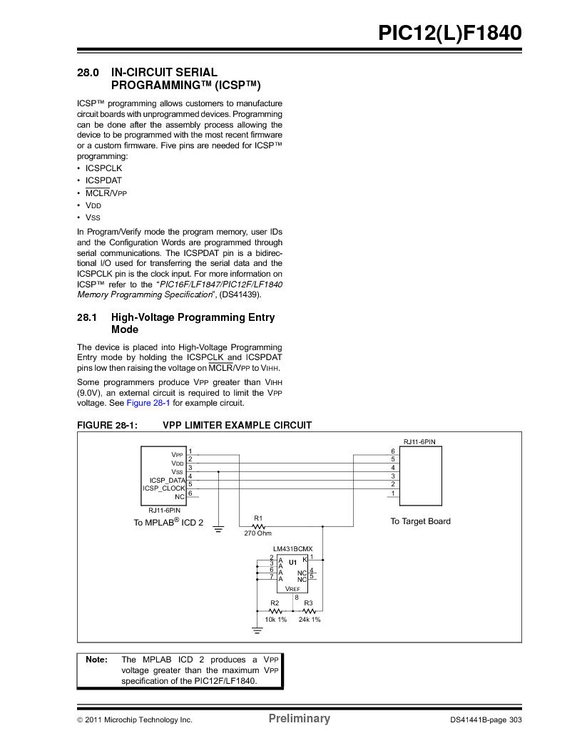 PIC12F1840-I/SN ,Microchip Technology厂商,MCU 7KB FLASH 256B RAM 8-SOIC, PIC12F1840-I/SN datasheet预览  第303页