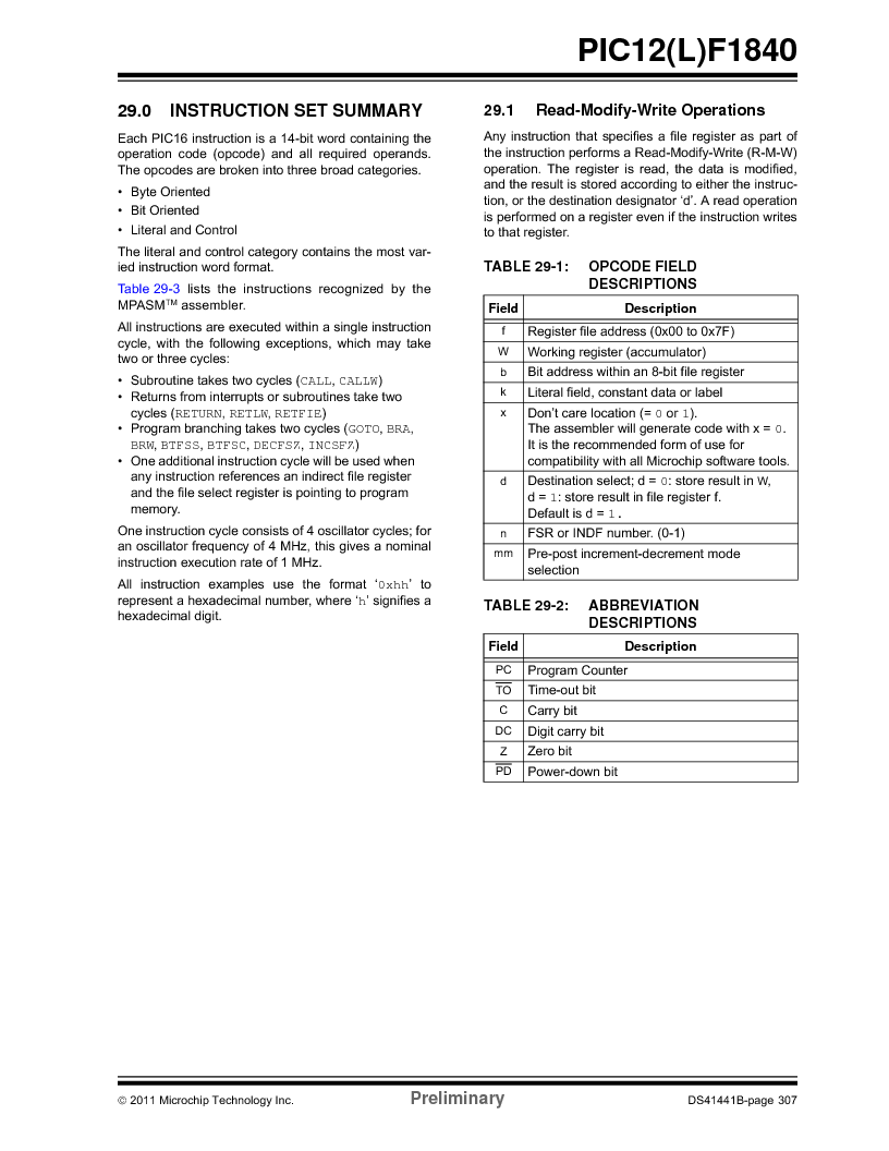 PIC12F1840-I/SN ,Microchip Technology厂商,MCU 7KB FLASH 256B RAM 8-SOIC, PIC12F1840-I/SN datasheet预览  第307页