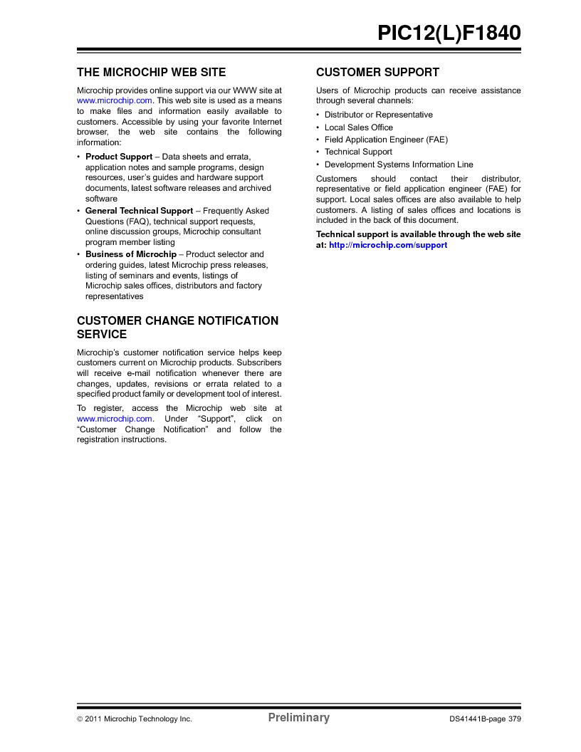 PIC12F1840-I/SN ,Microchip Technology厂商,MCU 7KB FLASH 256B RAM 8-SOIC, PIC12F1840-I/SN datasheet预览  第379页
