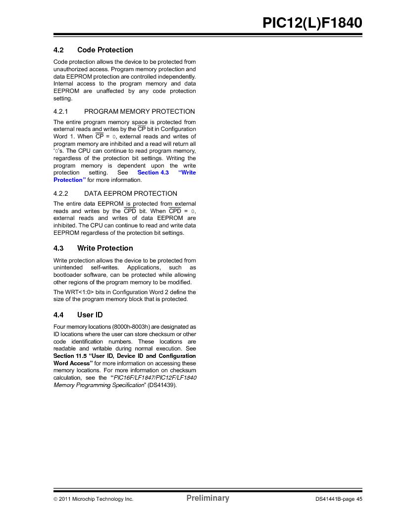 PIC12F1840-I/SN ,Microchip Technology厂商,MCU 7KB FLASH 256B RAM 8-SOIC, PIC12F1840-I/SN datasheet预览  第45页