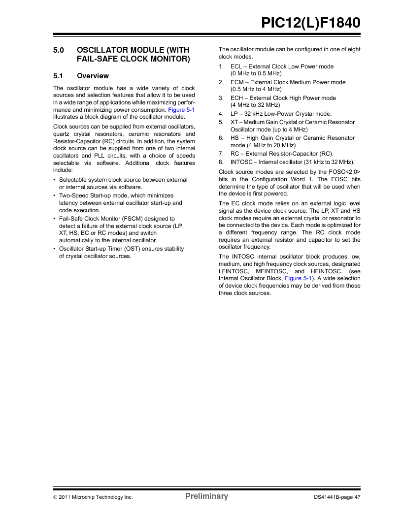 PIC12F1840-I/SN ,Microchip Technology厂商,MCU 7KB FLASH 256B RAM 8-SOIC, PIC12F1840-I/SN datasheet预览  第47页