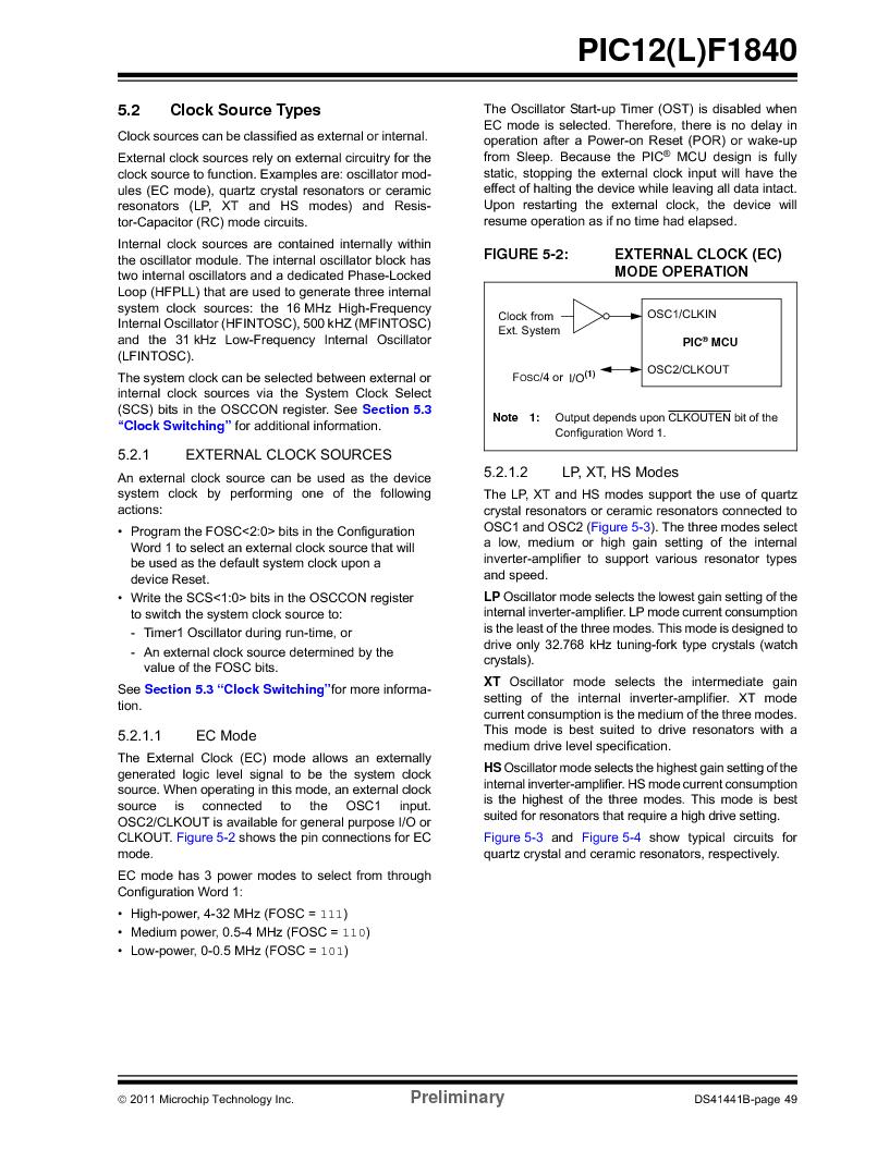 PIC12F1840-I/SN ,Microchip Technology厂商,MCU 7KB FLASH 256B RAM 8-SOIC, PIC12F1840-I/SN datasheet预览  第49页