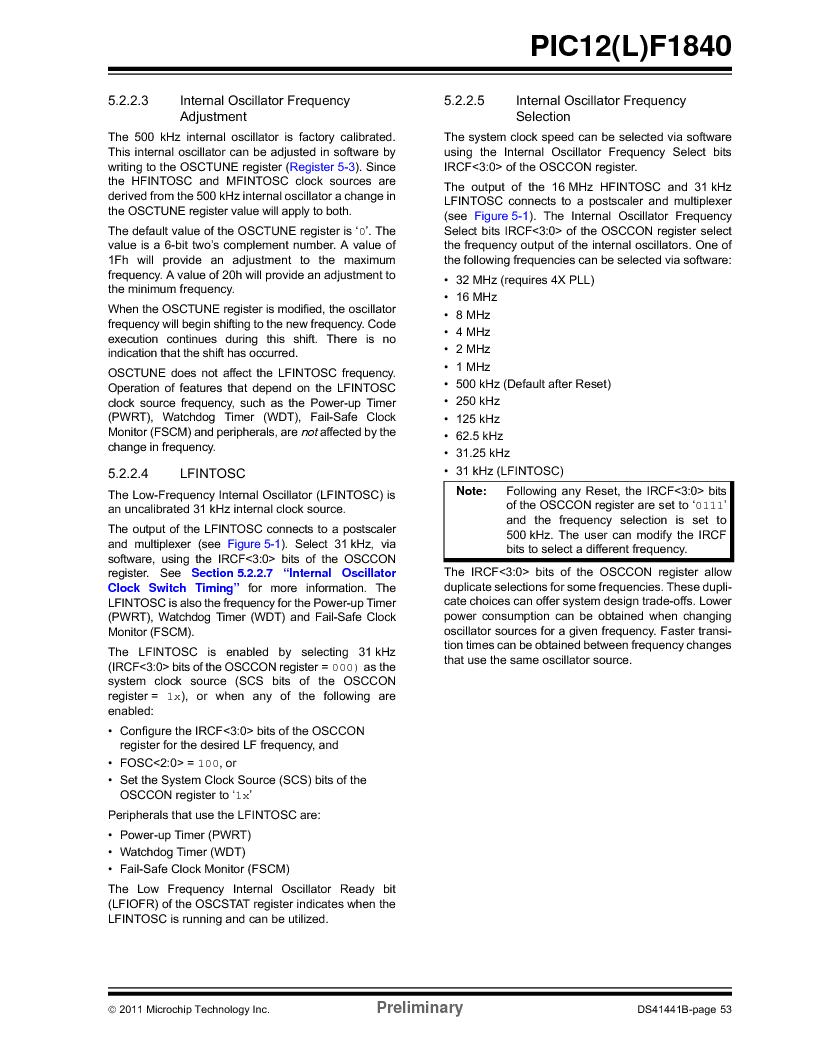 PIC12F1840-I/SN ,Microchip Technology厂商,MCU 7KB FLASH 256B RAM 8-SOIC, PIC12F1840-I/SN datasheet预览  第53页