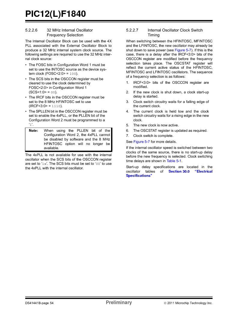 PIC12F1840-I/SN ,Microchip Technology厂商,MCU 7KB FLASH 256B RAM 8-SOIC, PIC12F1840-I/SN datasheet预览  第54页