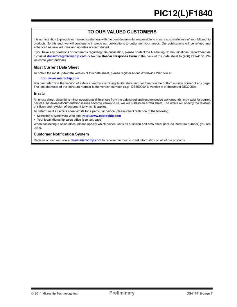PIC12F1840-I/SN ,Microchip Technology厂商,MCU 7KB FLASH 256B RAM 8-SOIC, PIC12F1840-I/SN datasheet预览  第7页