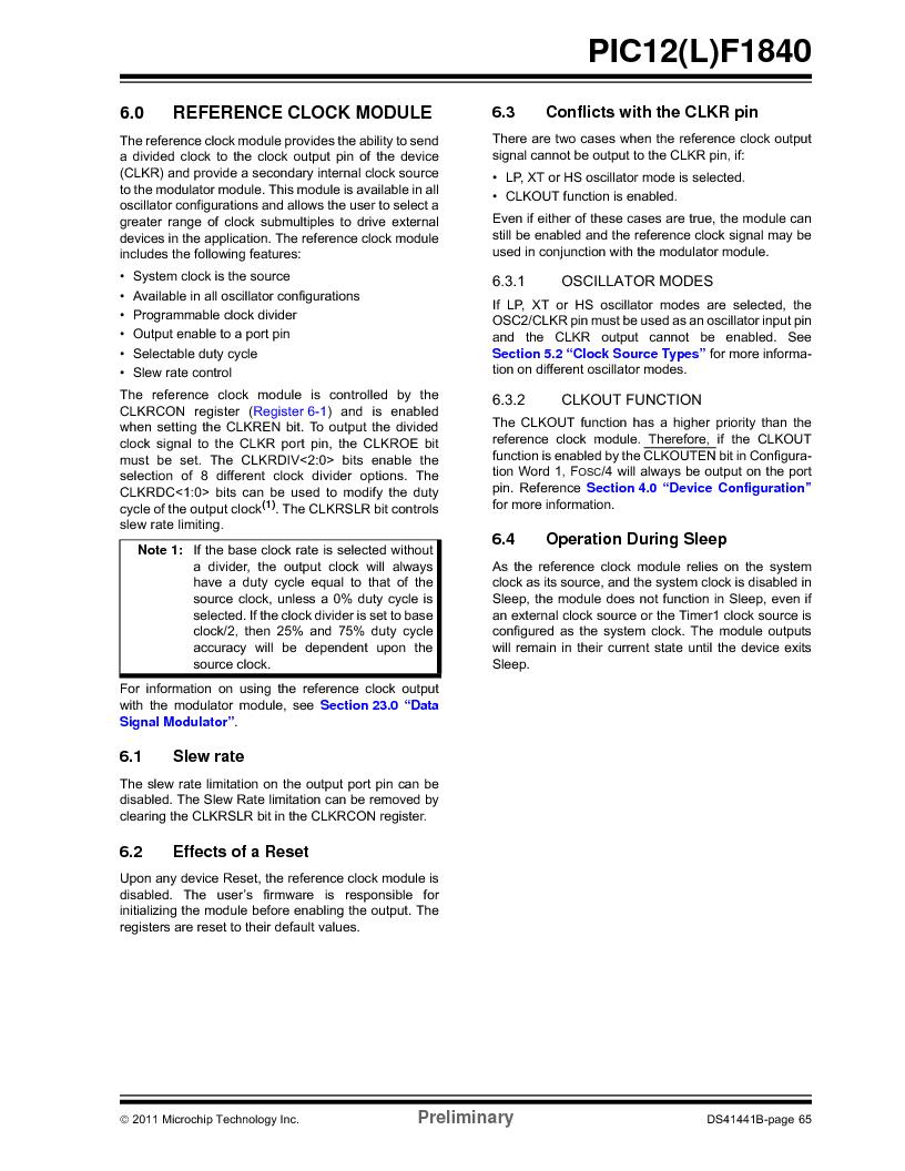 PIC12F1840-I/SN ,Microchip Technology厂商,MCU 7KB FLASH 256B RAM 8-SOIC, PIC12F1840-I/SN datasheet预览  第65页
