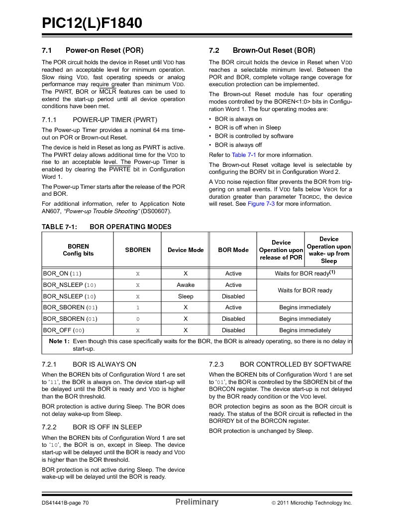PIC12F1840-I/SN ,Microchip Technology厂商,MCU 7KB FLASH 256B RAM 8-SOIC, PIC12F1840-I/SN datasheet预览  第70页