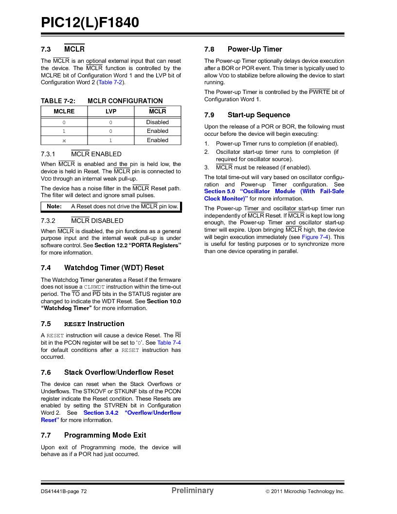 PIC12F1840-I/SN ,Microchip Technology厂商,MCU 7KB FLASH 256B RAM 8-SOIC, PIC12F1840-I/SN datasheet预览  第72页