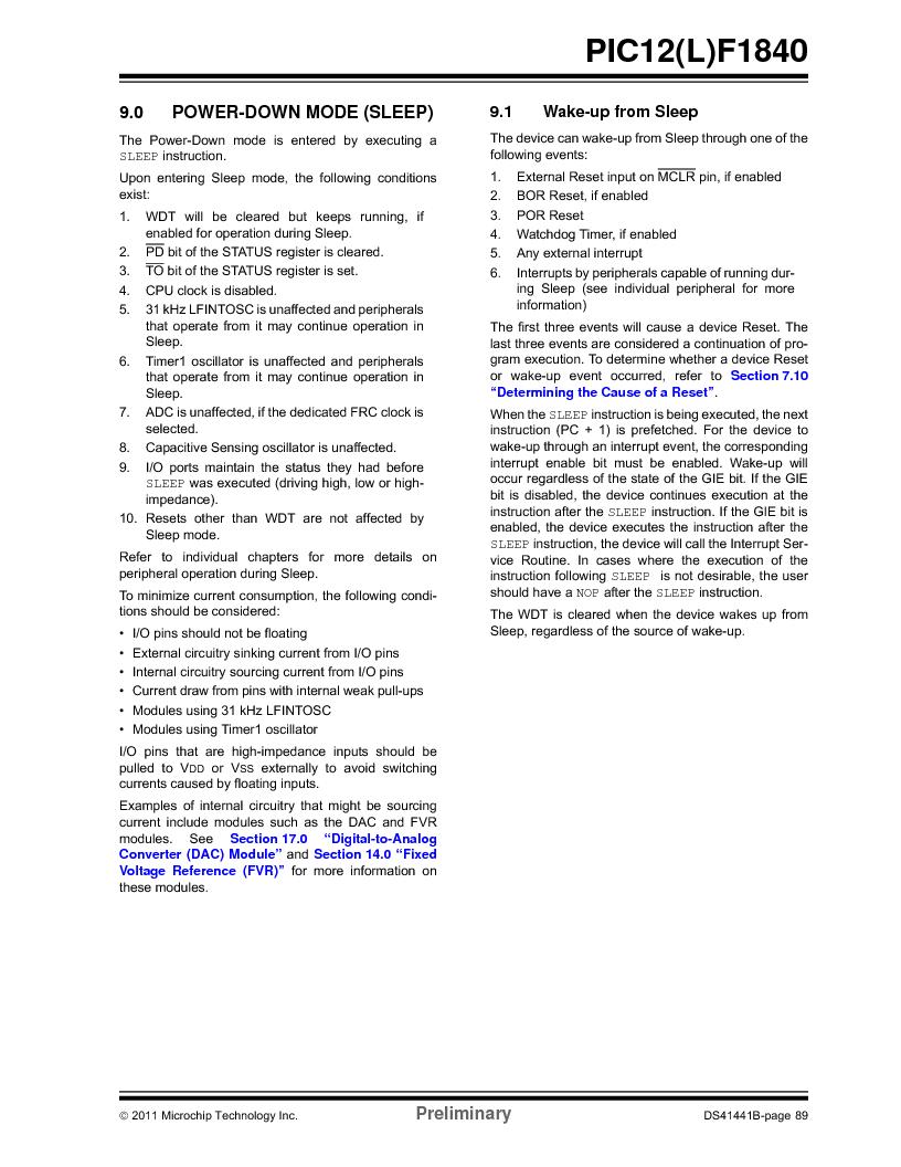 PIC12F1840-I/SN ,Microchip Technology厂商,MCU 7KB FLASH 256B RAM 8-SOIC, PIC12F1840-I/SN datasheet预览  第89页