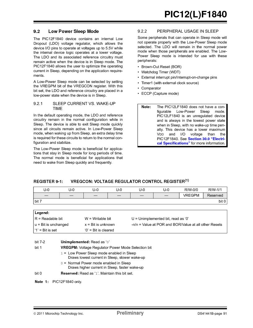 PIC12F1840-I/SN ,Microchip Technology厂商,MCU 7KB FLASH 256B RAM 8-SOIC, PIC12F1840-I/SN datasheet预览  第91页