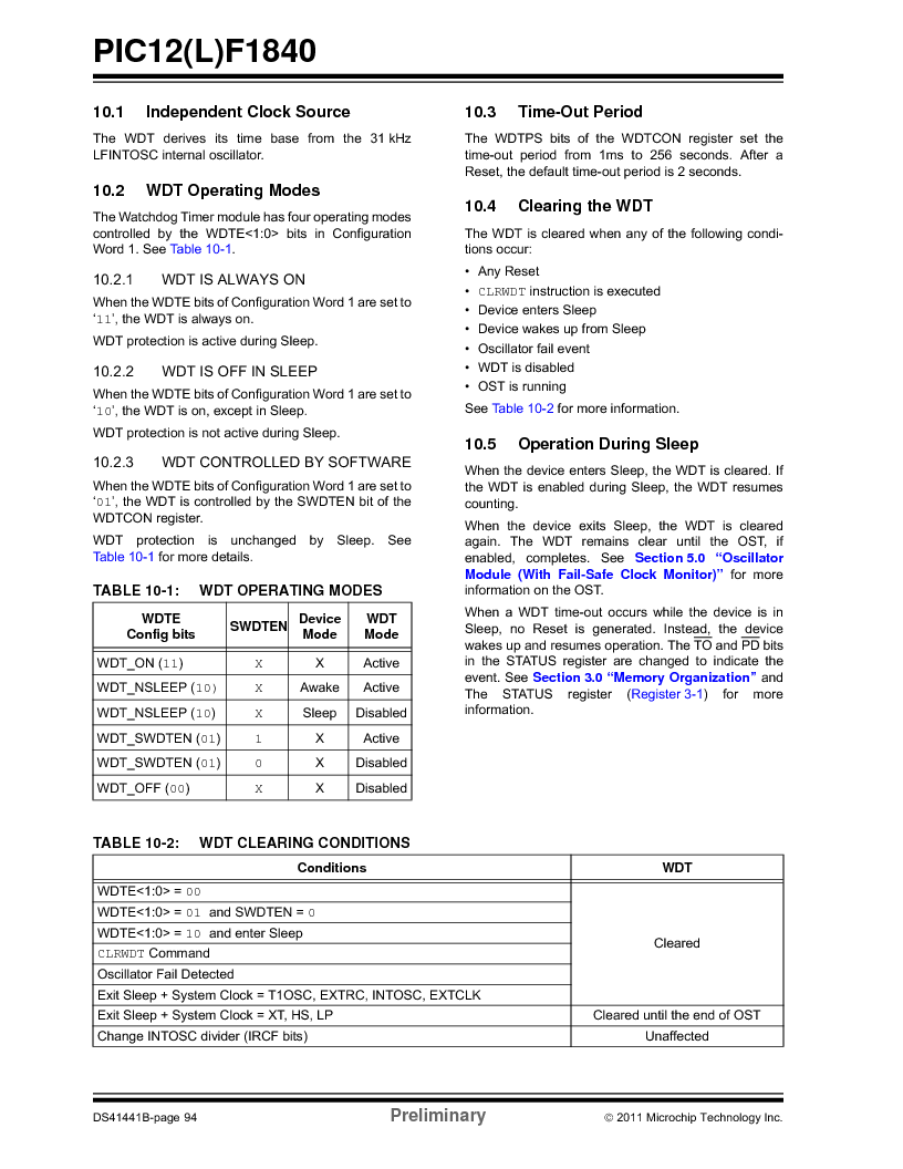PIC12F1840-I/SN ,Microchip Technology厂商,MCU 7KB FLASH 256B RAM 8-SOIC, PIC12F1840-I/SN datasheet预览  第94页