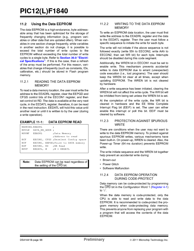 PIC12F1840-I/SN ,Microchip Technology厂商,MCU 7KB FLASH 256B RAM 8-SOIC, PIC12F1840-I/SN datasheet预览  第98页