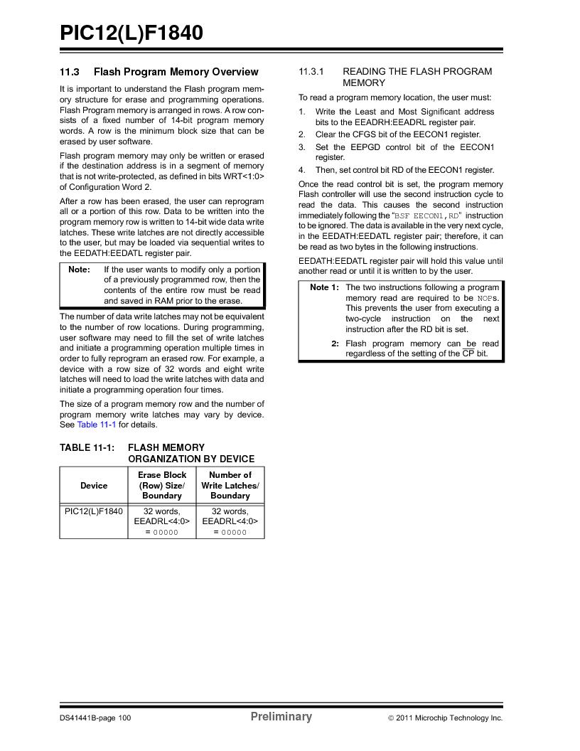 PIC12F1840-I/SN ,Microchip Technology厂商,MCU 7KB FLASH 256B RAM 8-SOIC, PIC12F1840-I/SN datasheet预览  第100页