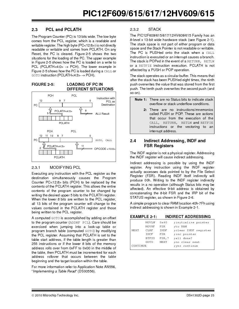 PIC12F609-I/MD ,Microchip Technology厂商,IC PIC MCU FLASH 1KX14 8DFN, PIC12F609-I/MD datasheet预览  第25页