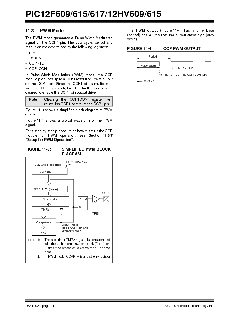 PIC12F609-I/MD ,Microchip Technology厂商,IC PIC MCU FLASH 1KX14 8DFN, PIC12F609-I/MD datasheet预览  第94页
