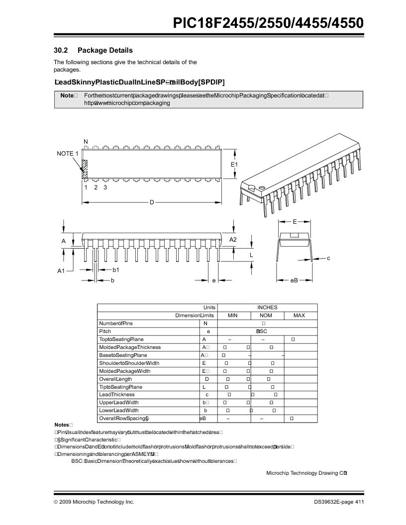 PIC18F2550-I/SP ,Microchip Technology厂商,IC PIC MCU FLASH 16KX16 28SDIP, PIC18F2550-I/SP datasheet预览  第413页
