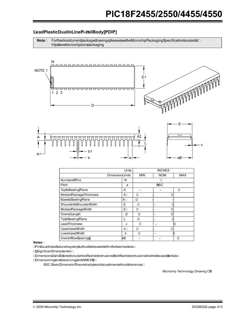 PIC18F2550-I/SP ,Microchip Technology厂商,IC PIC MCU FLASH 16KX16 28SDIP, PIC18F2550-I/SP datasheet预览  第415页