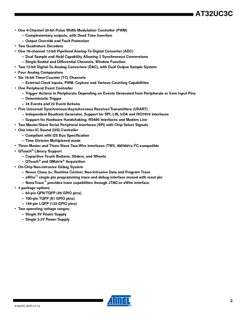 AT32UC3C1512C-AZT ,Atmel厂商,IC MCU 32BIT 512KB FLASH 100TQFP, AT32UC3C1512C-AZT datasheet预览  第2页