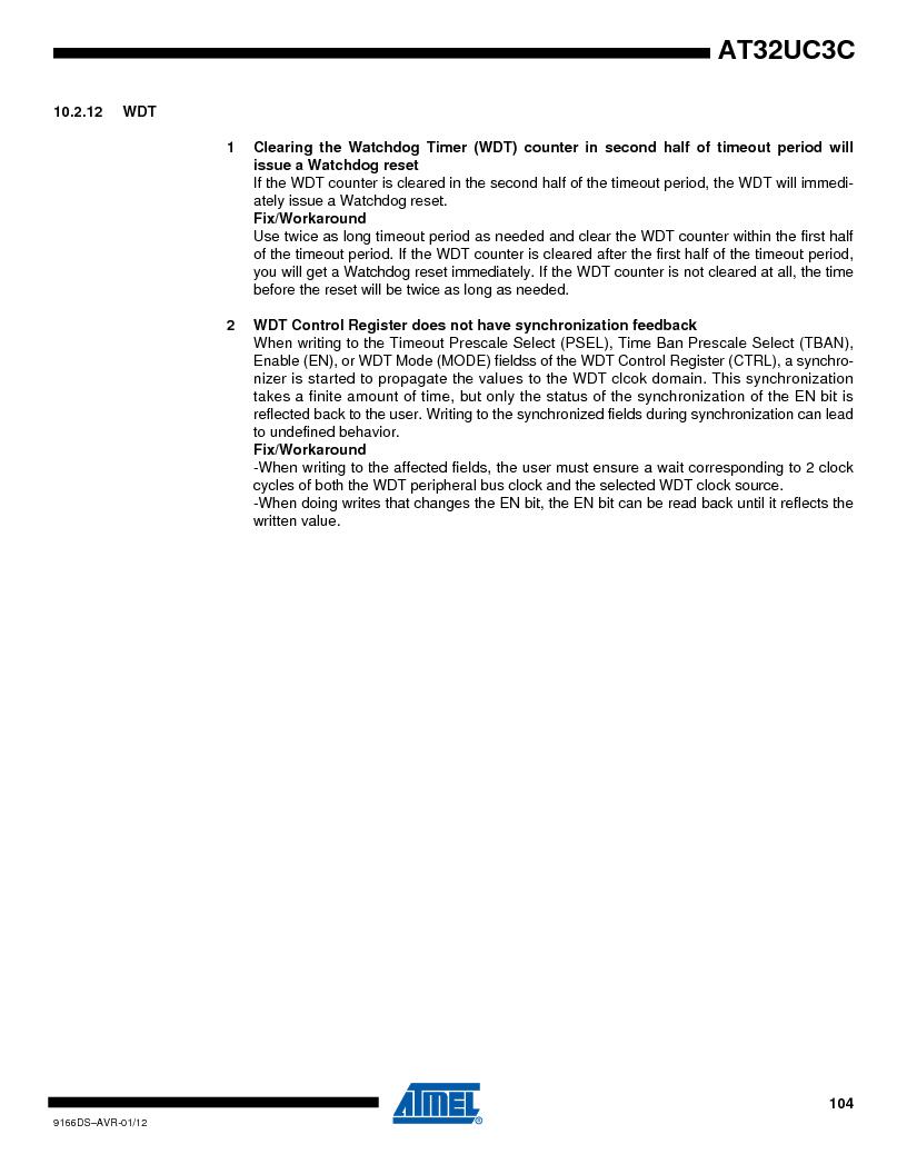 AT32UC3C1512C-AZT ,Atmel厂商,IC MCU 32BIT 512KB FLASH 100TQFP, AT32UC3C1512C-AZT datasheet预览  第104页