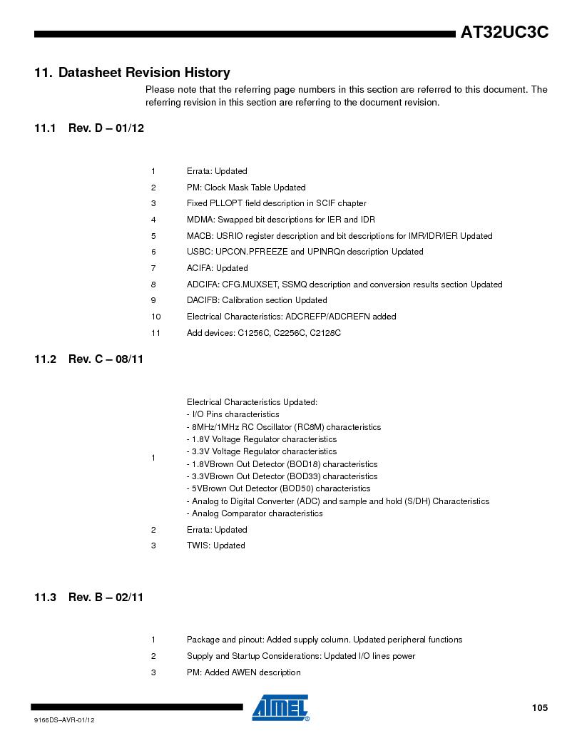 AT32UC3C1512C-AZT ,Atmel厂商,IC MCU 32BIT 512KB FLASH 100TQFP, AT32UC3C1512C-AZT datasheet预览  第105页