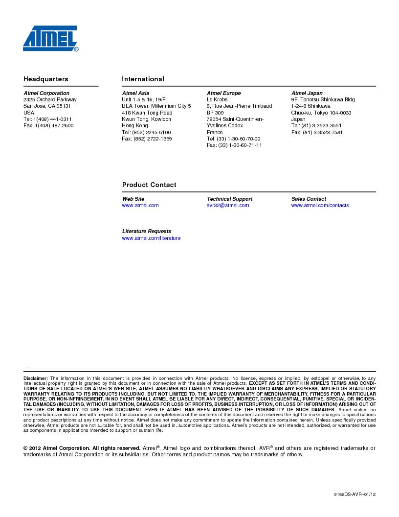 AT32UC3C1512C-AZT ,Atmel厂商,IC MCU 32BIT 512KB FLASH 100TQFP, AT32UC3C1512C-AZT datasheet预览  第109页